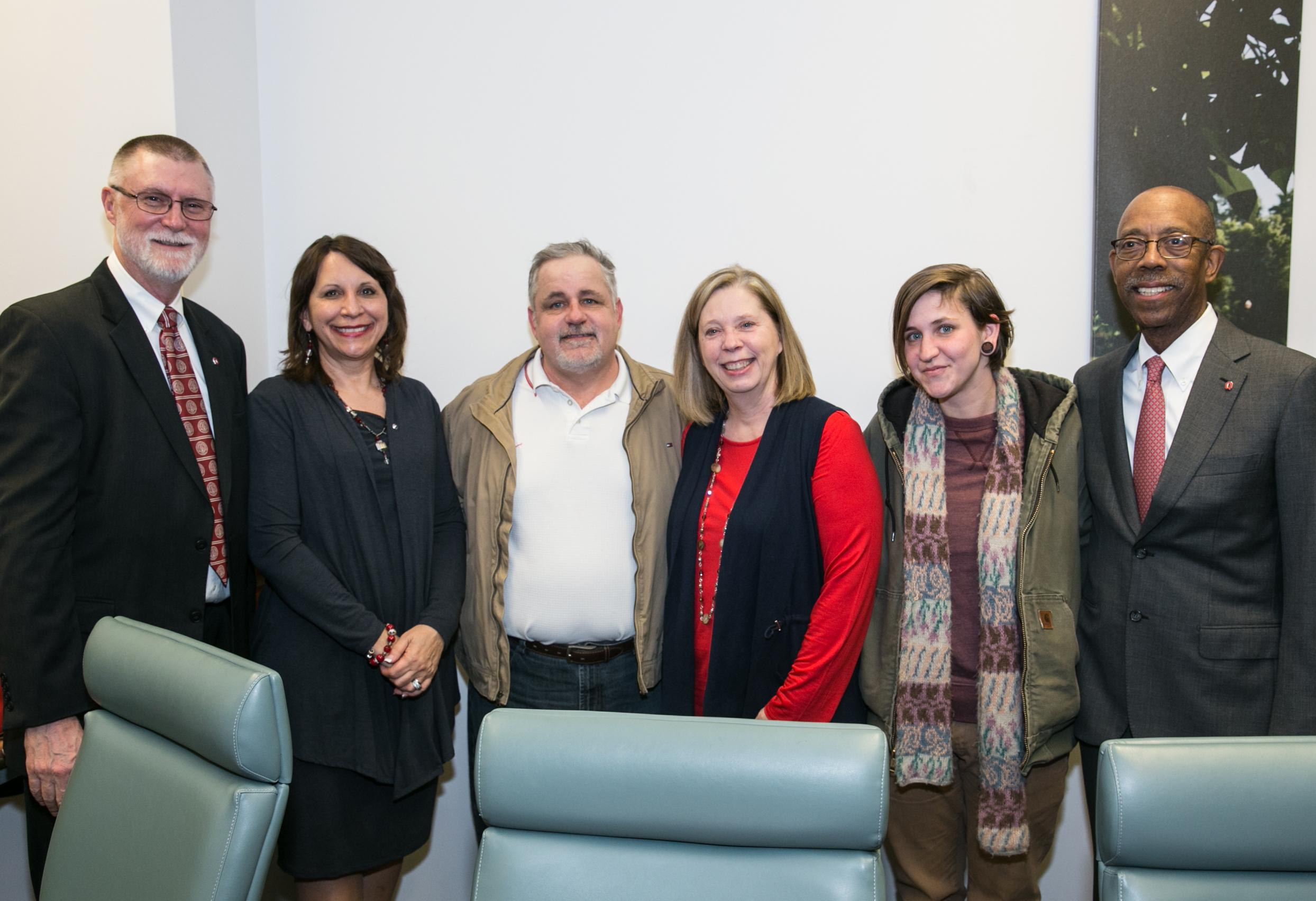 Alice Teall with Dean Bernadette Melnyk, Provost Bruce McPheron, President Michael Drake and family members